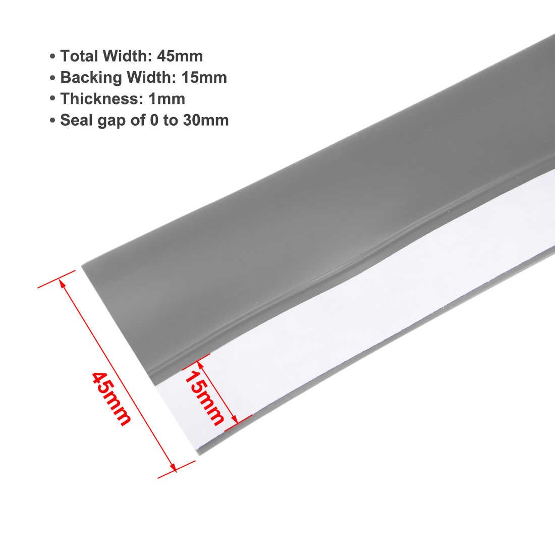 Unique Bargains 1-3/4'(45mm) Width 2M Long Weather Stripping Frameless Door Bottom Seal Gray