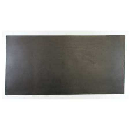 E. JAMES 1/16' 1-Ply Cloth Inserted Neoprene Rubber Sheet, 24'x12', Black, 60A, 7710-1/16NEO1-B