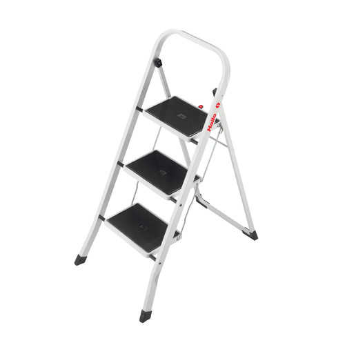 Hailo USA Inc. 3-Step Steel Step Stool with 330 lb. Load Capacity