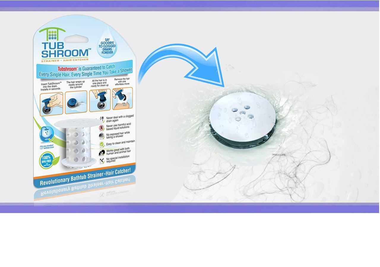 TubShroom Revolutionary Hair Catcher Drain Protector for Tub Drains (No More Clogs) Clear