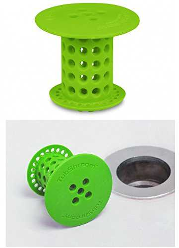 TubShroom Revolutionary Hair Catcher Drain Protector for Tub Drains (No More Clogs) Green