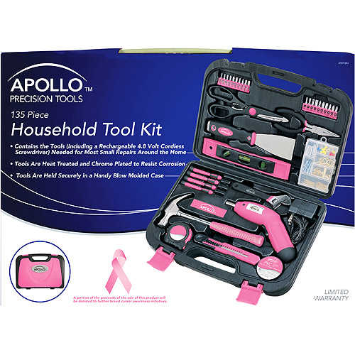Apollo Tools Precision 135pc Household Tool Set, Pink