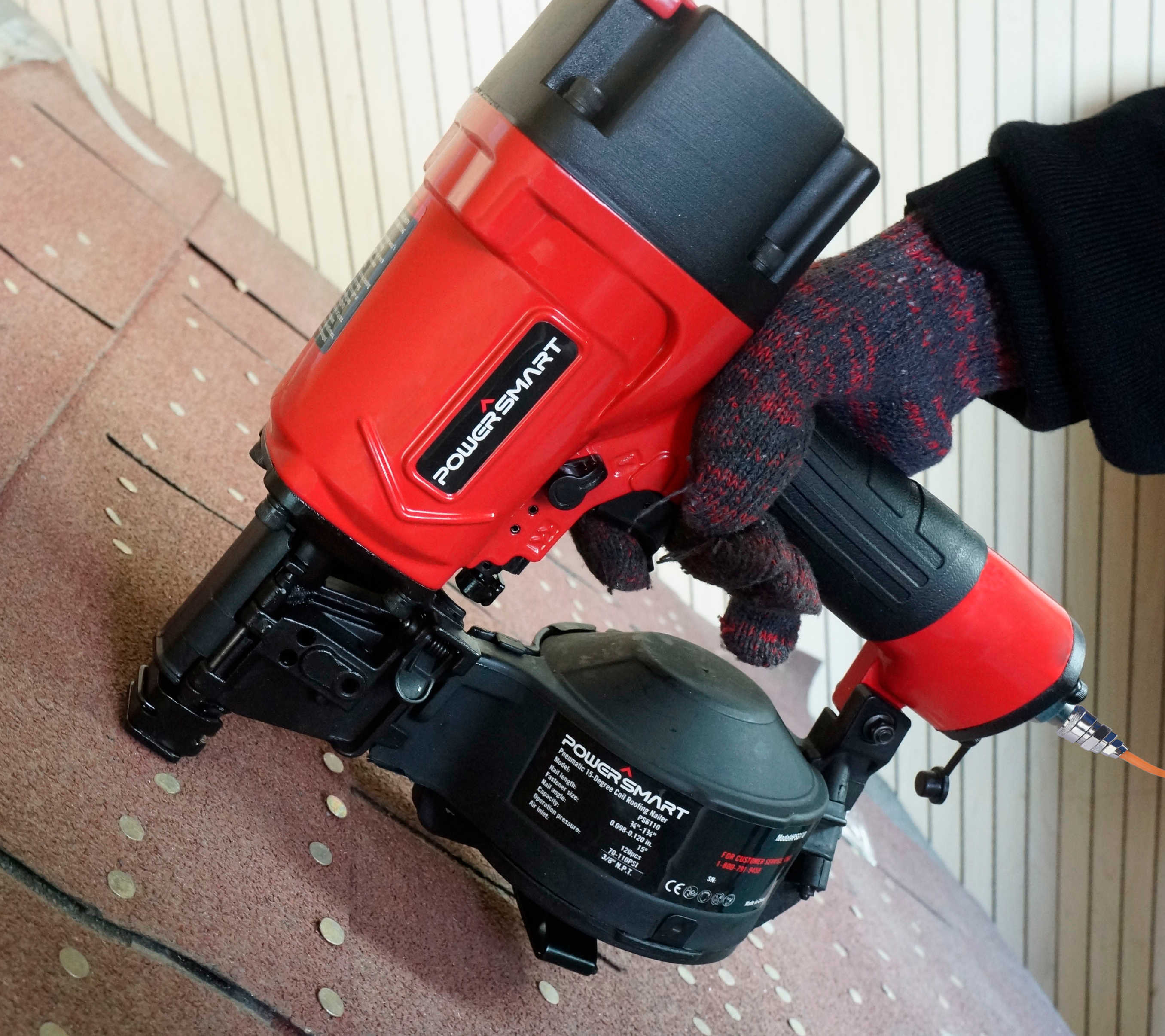 PowerSmart PS6110 Pneumatic 15-Degree Coil Roofing Nailer