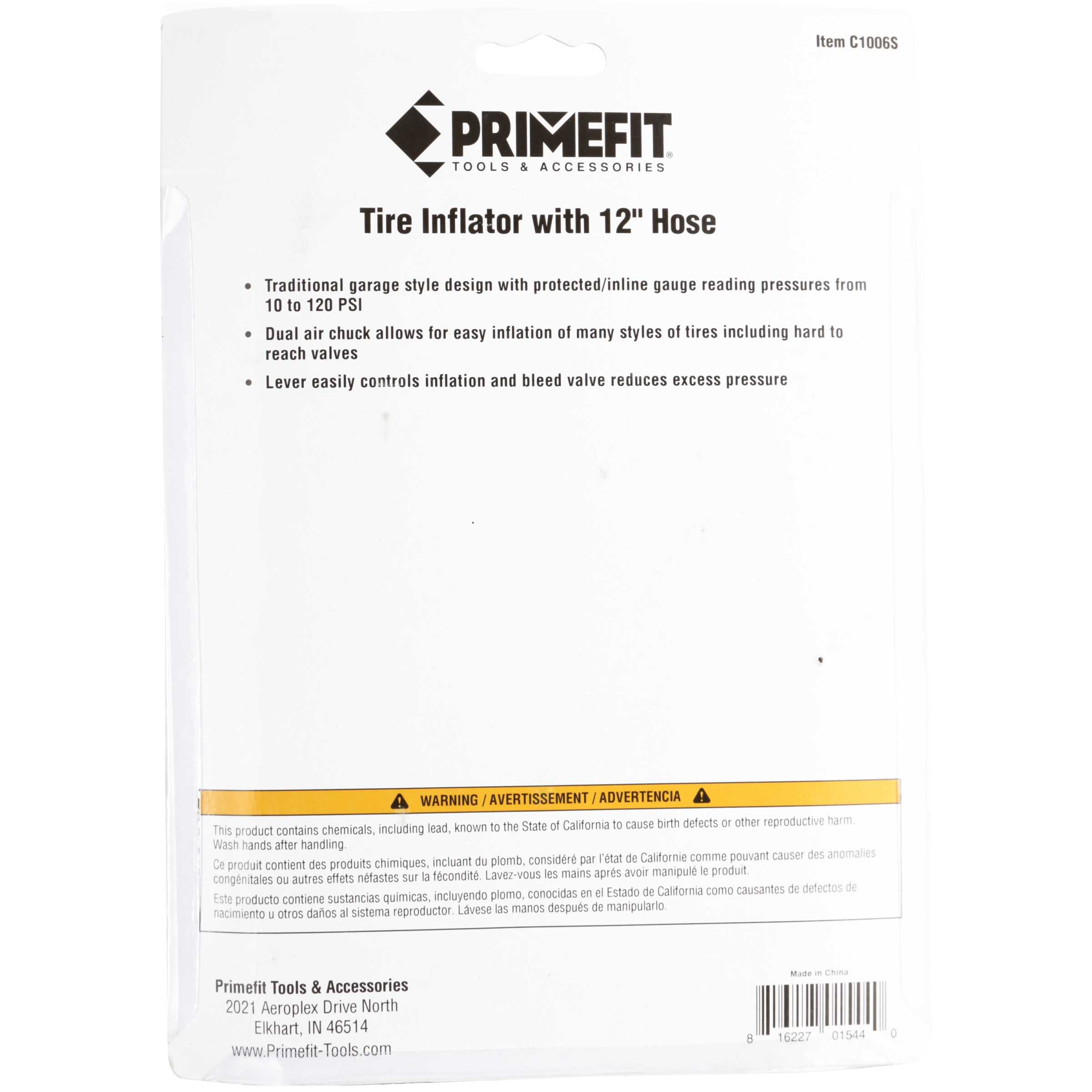 Primefit Tools & Accessories Tire Inflator with 12'' Hose 3 pc Pack