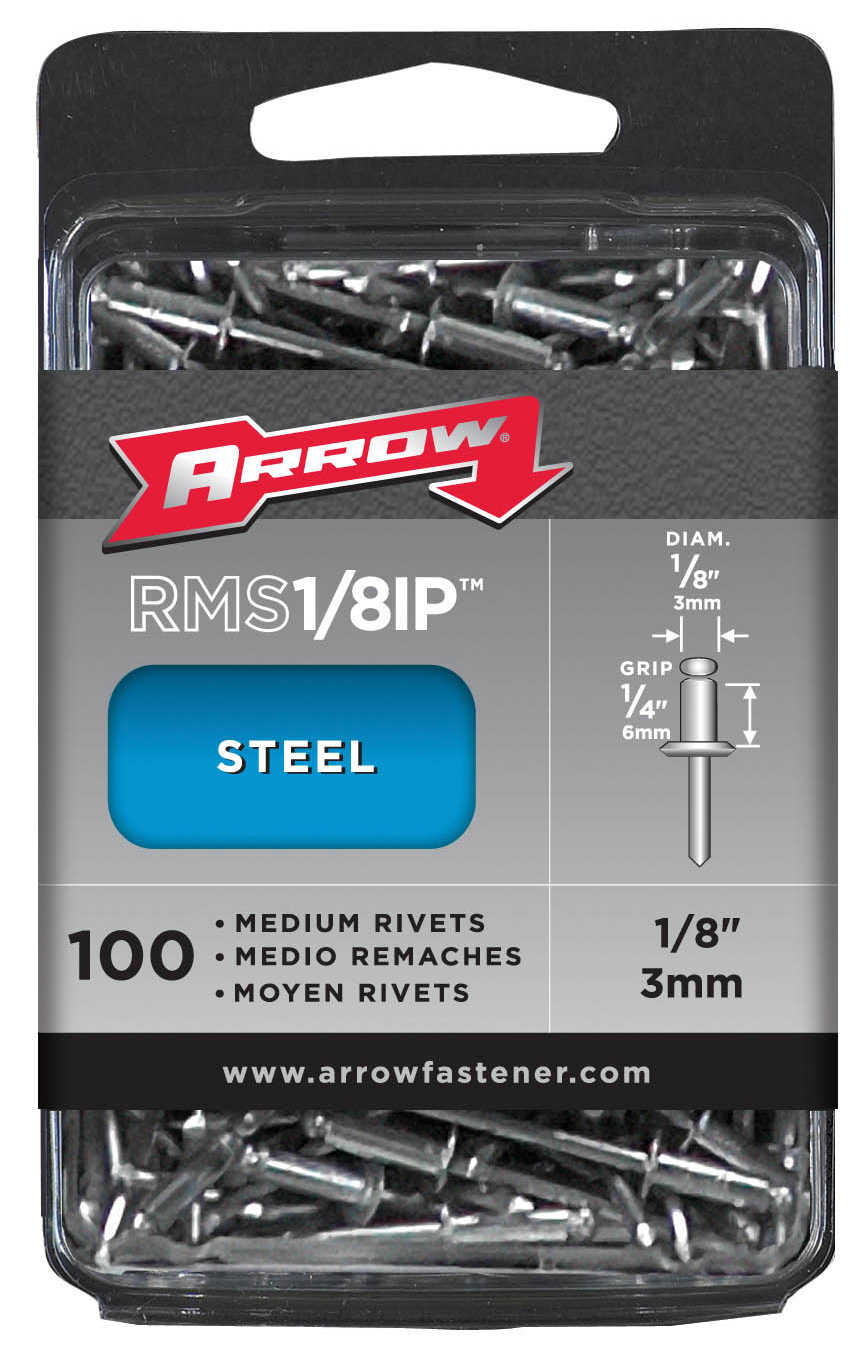 Arrow Fastener Co. 1/8' Medium Steel Rivets 100 Count