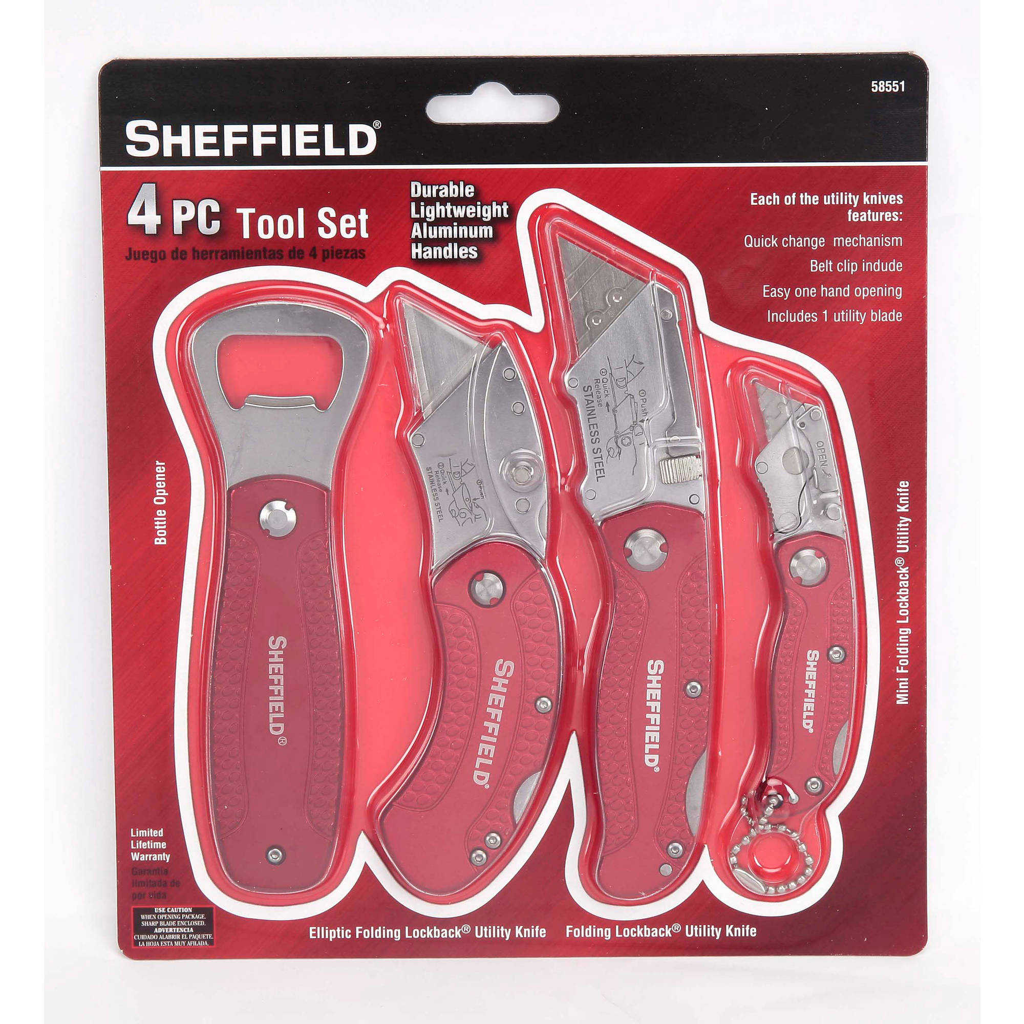 Sheffield 4-Piece Tool Set with Bottle Opener