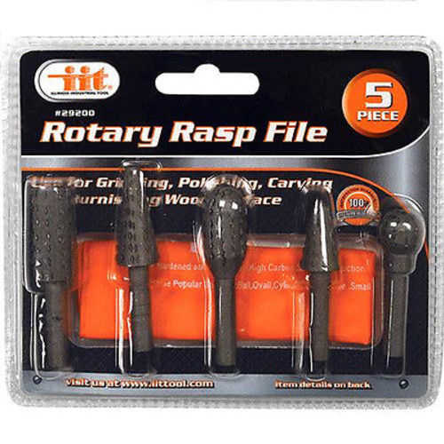 5pc Rotary Rasp Files 1/4' Shanks Drills Tools Carbon Steel Crafts Dremel 29200