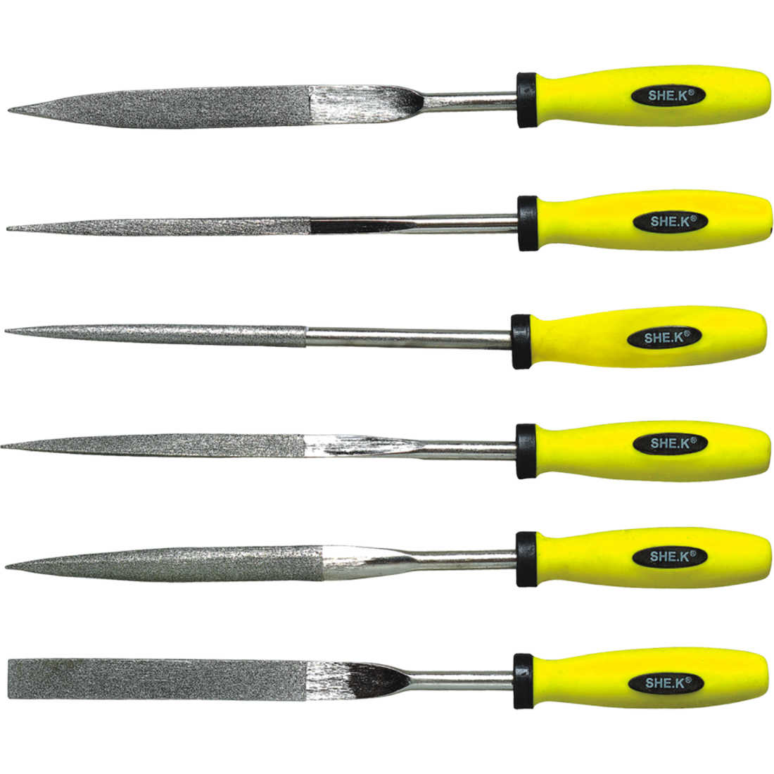 6Pcs High-end Precision Rasper Household Fine Trimming File Set - Main Silver + Yellow-Black Handle