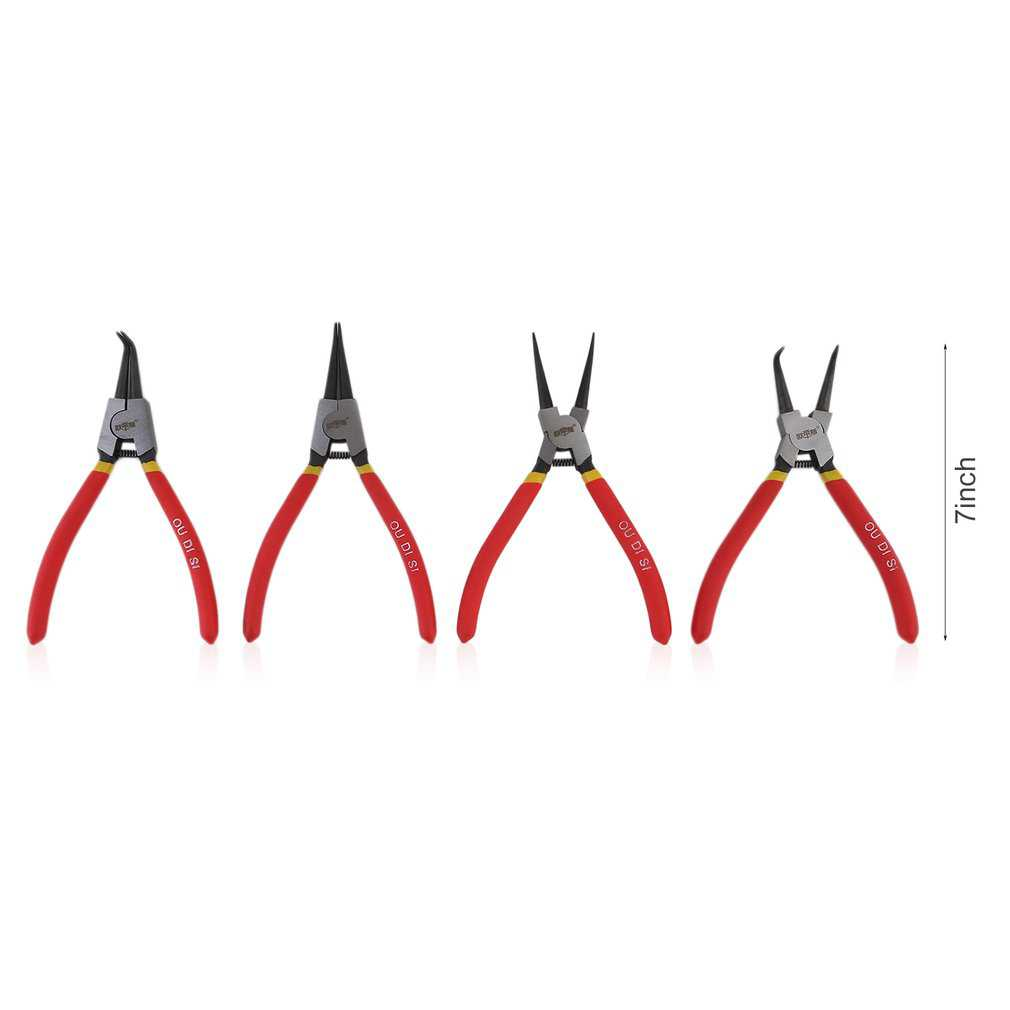 CNMODLE 4pcs Heavy Duty Snap Ring Plier Kit 7 Inch Circlip Plier Set With Pouch Professional Installation Removal Snap Ring Plier