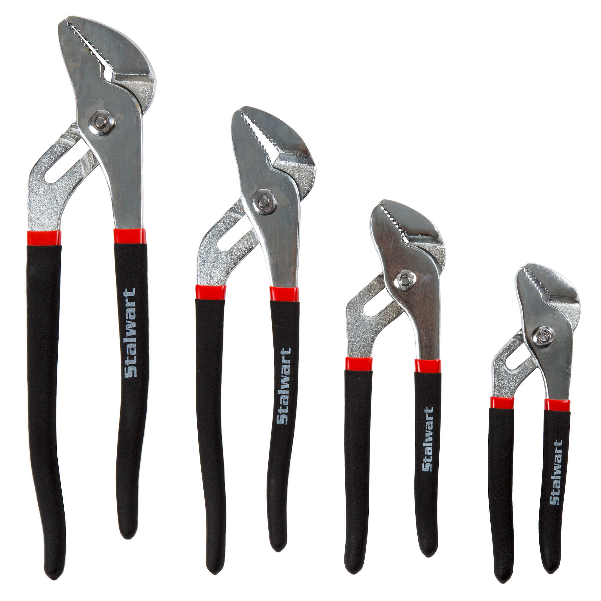 4 PC Groove Joint Plier Set with Storage Pouch by Stalwart