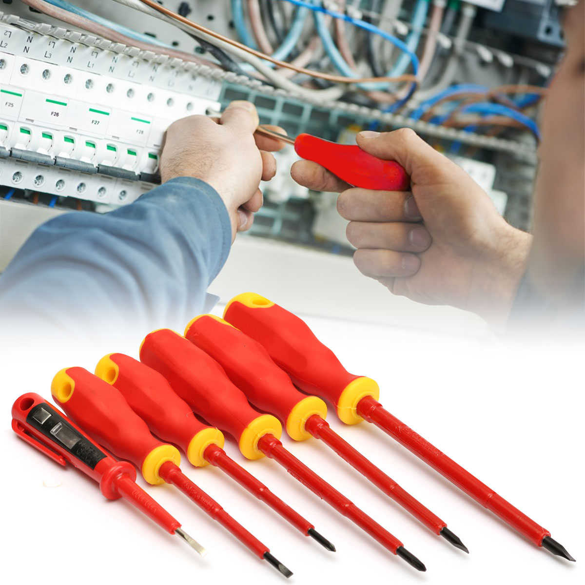 6PCS Electricians Insulated Electrical Hand Screwdrivers Set Tool 1000V Power