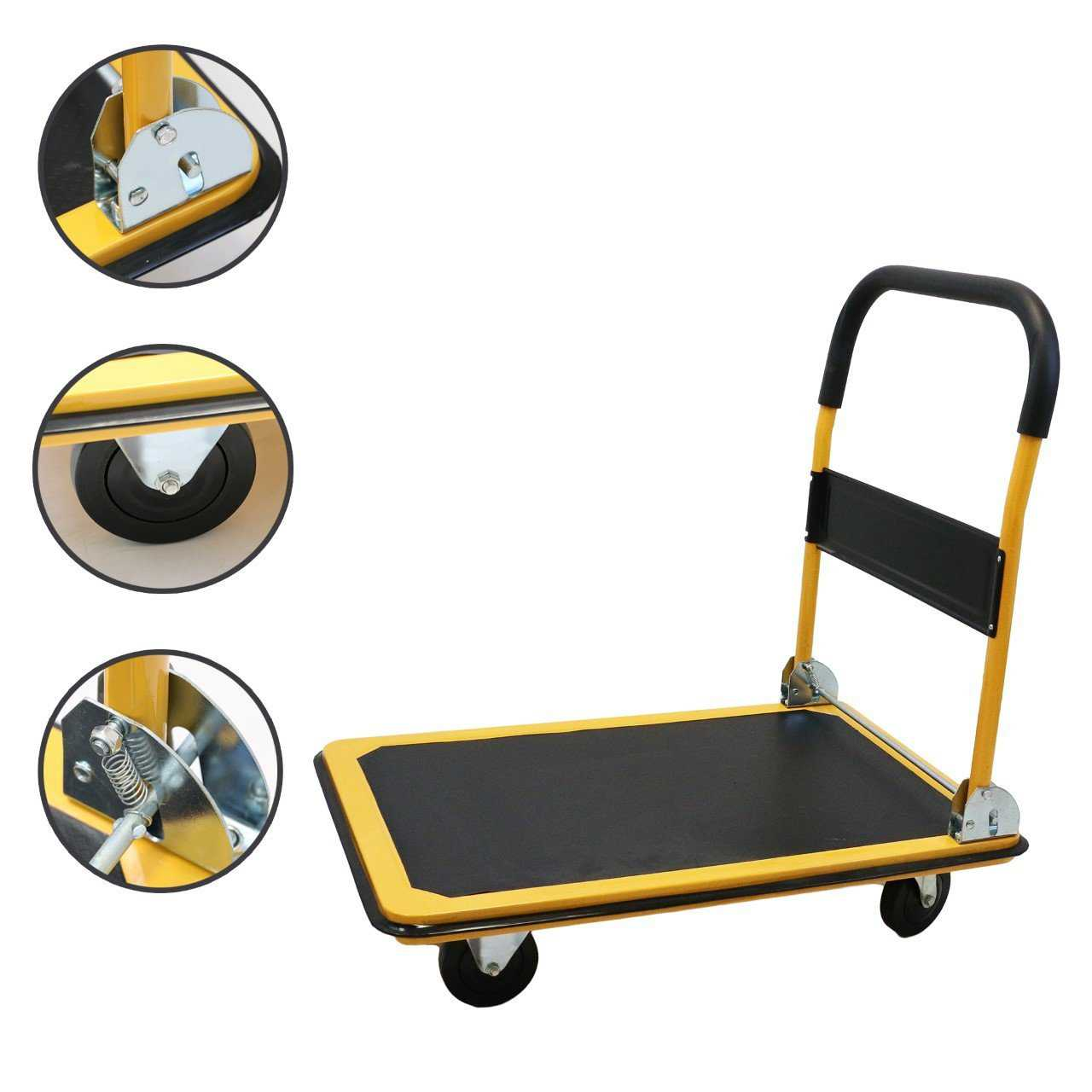 Magshion Platform Cart Folding Dolly Foldable Hand Truck 660LB-Yellow