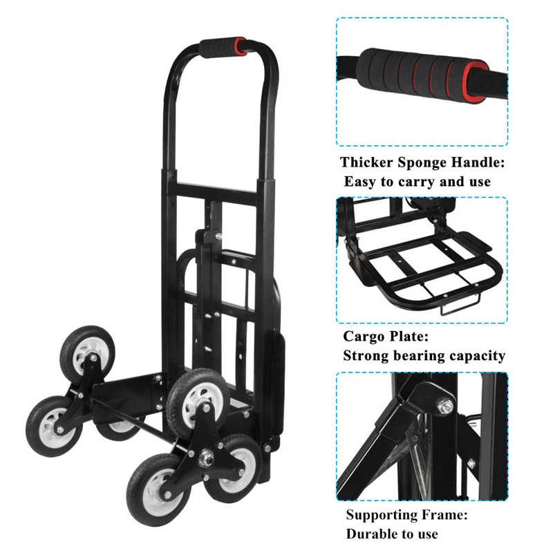 Walfront Stair Climber Hand Truck Solid Rubber Tires 440LBS Barrow Hand Truck Bracket Roll Cart Trolley with 6 Wheels for Easy Climbing