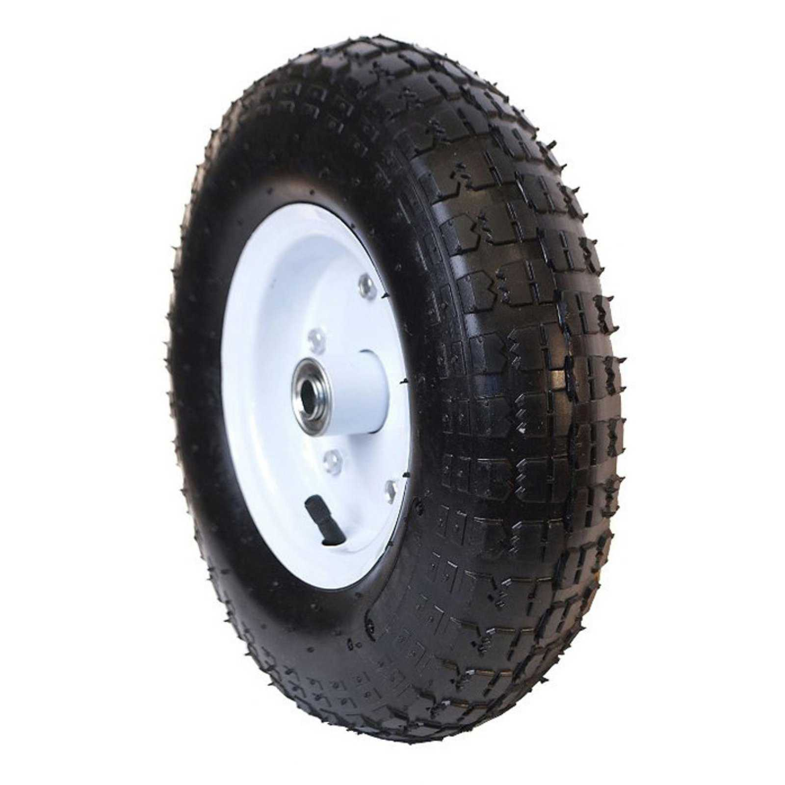 ALEKO WAP10 Pneumatic Turf Replacement Wheel for Wheelbarrow 10 Inch Air Filled Turf Tire for Hand Trucks and Lawn Carts, Black Tire White Rim
