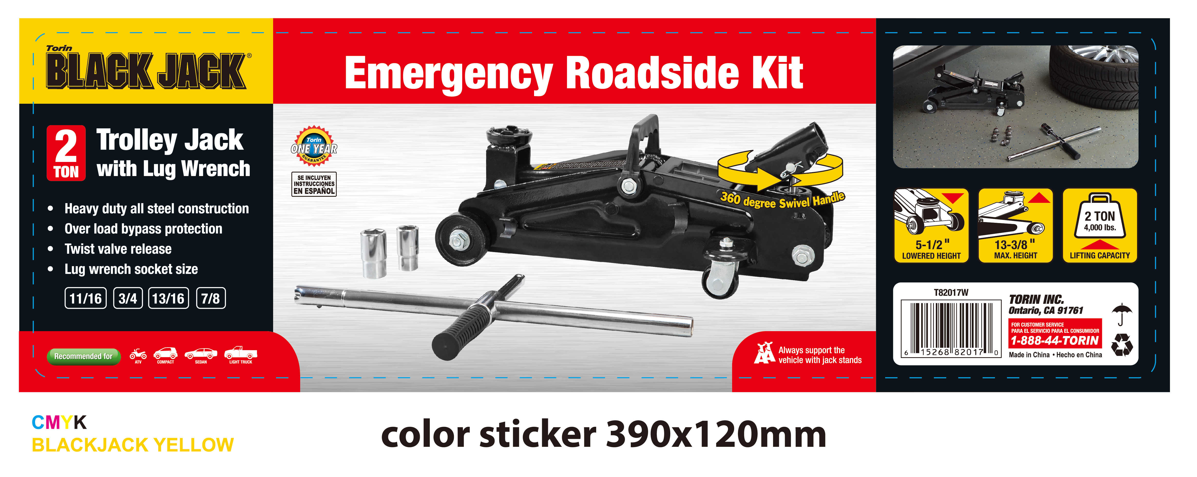 Torin Blackjack Roadside Kit with a 2 Ton Trolley Jack with Lug Wrench