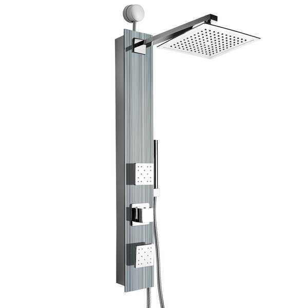 AKDY SP0060 35' Easy Connect Tempered Glass Shower Tower Panel System Spa Rainfall Shower Head in Multistripe
