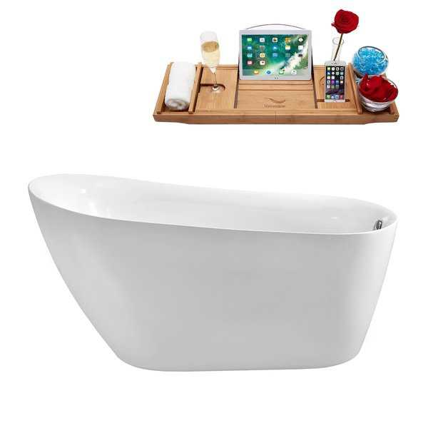 59' Streamline N-280-59FSWH-FM Soaking Freestanding Tub and Tray With Internal Drain