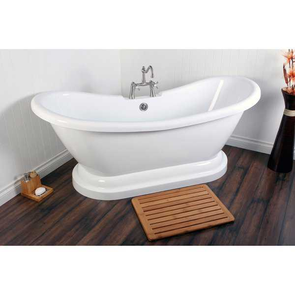 Contemporary Double Slipper 69-inch Pedestal Bathtub