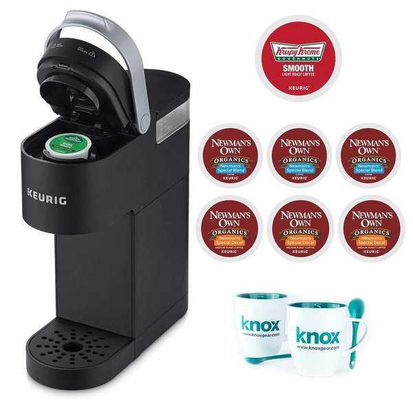 Keurig K-Mini Single Serve K-Cup Pod Coffee Maker (Black) with Coffee and Mugs